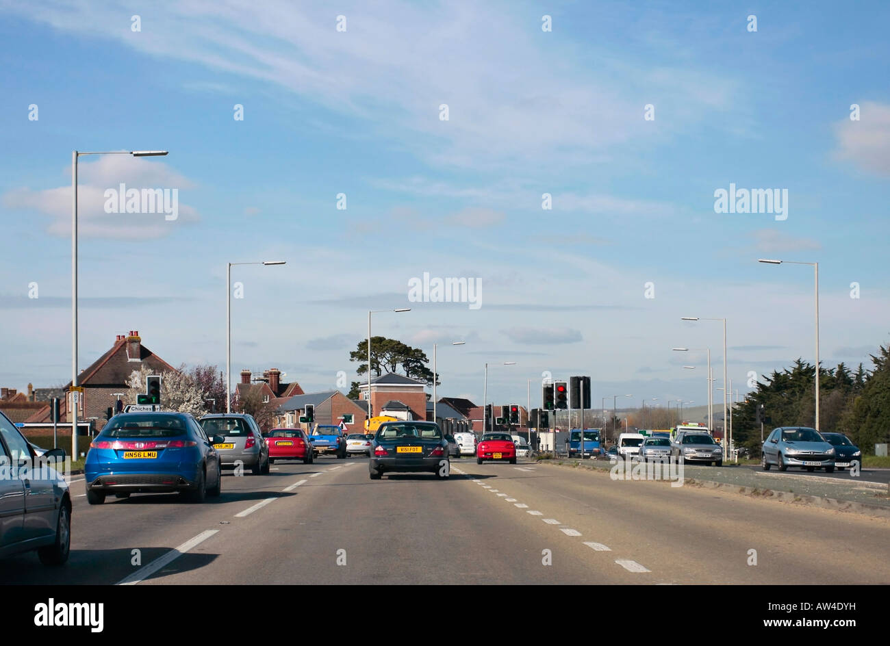 A27 trunk road approaching Chichester from the west - Stock Image