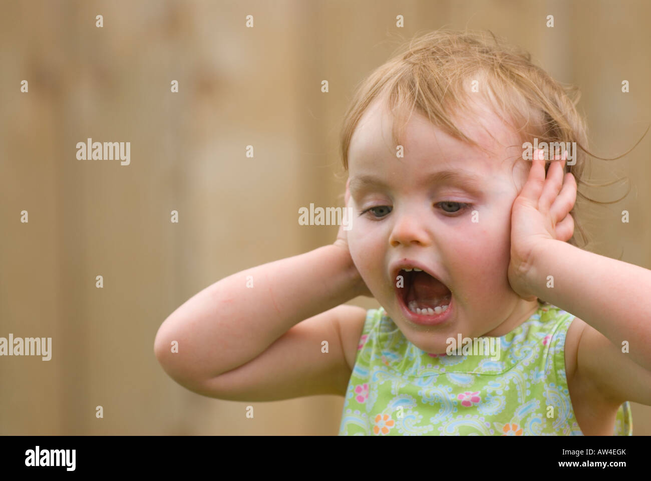Two year old girl throwing a temper tantrum - Stock Image