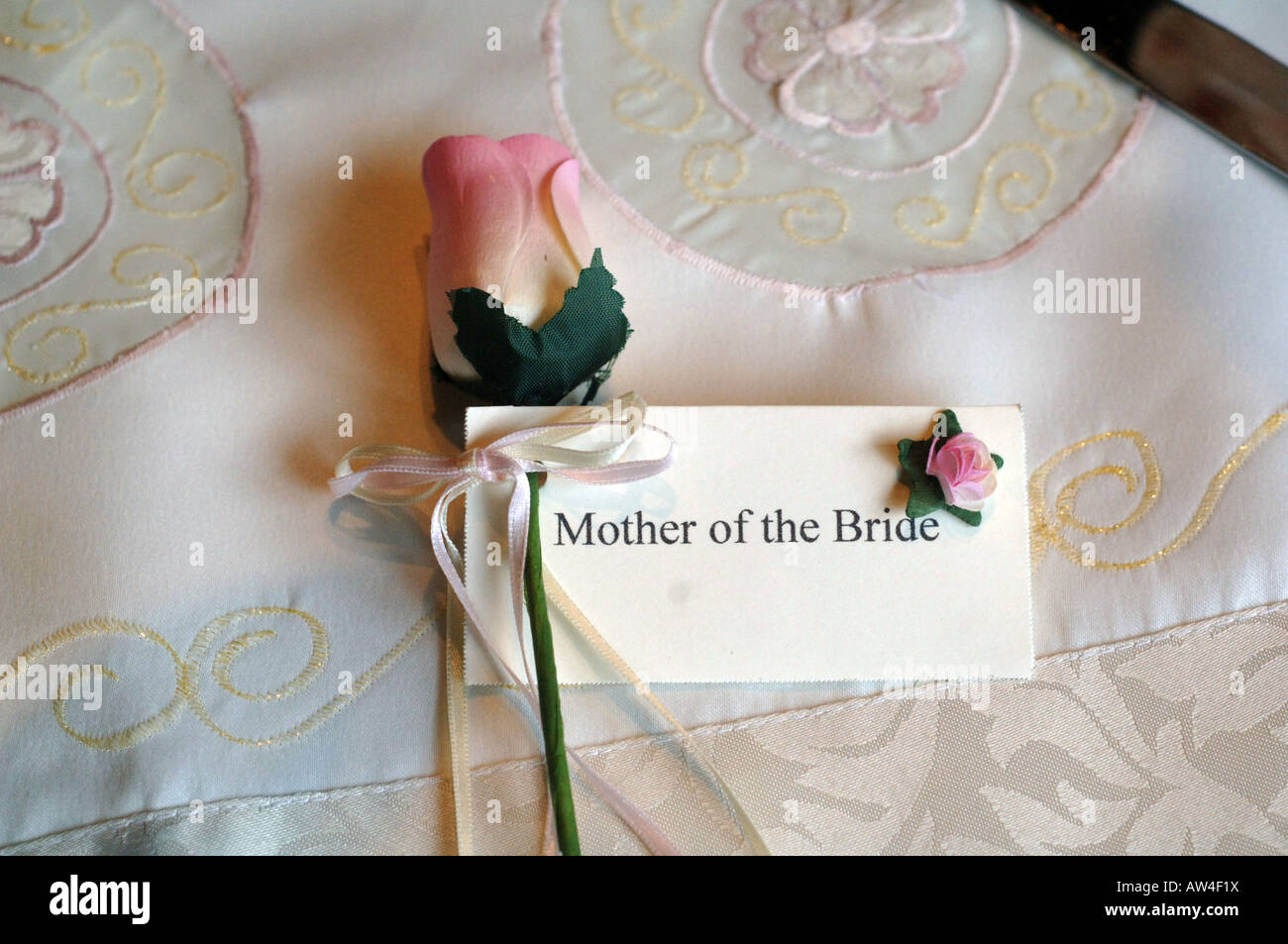 A table setting at a wedding UK - Stock Image
