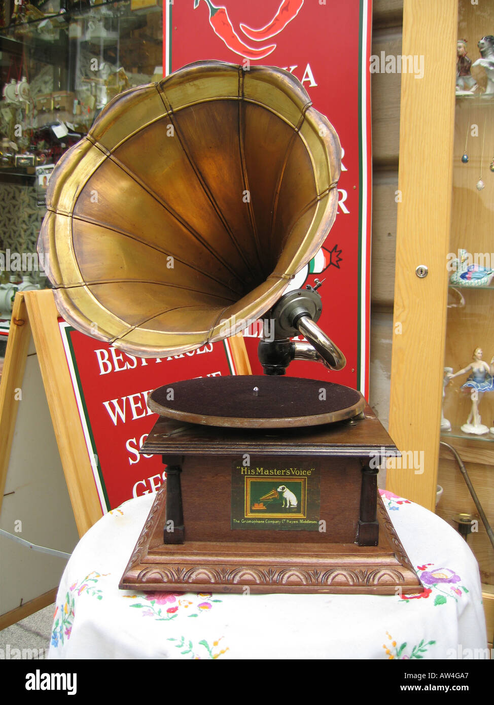Old His Masters Voice Gramophone with Horn - Stock Image