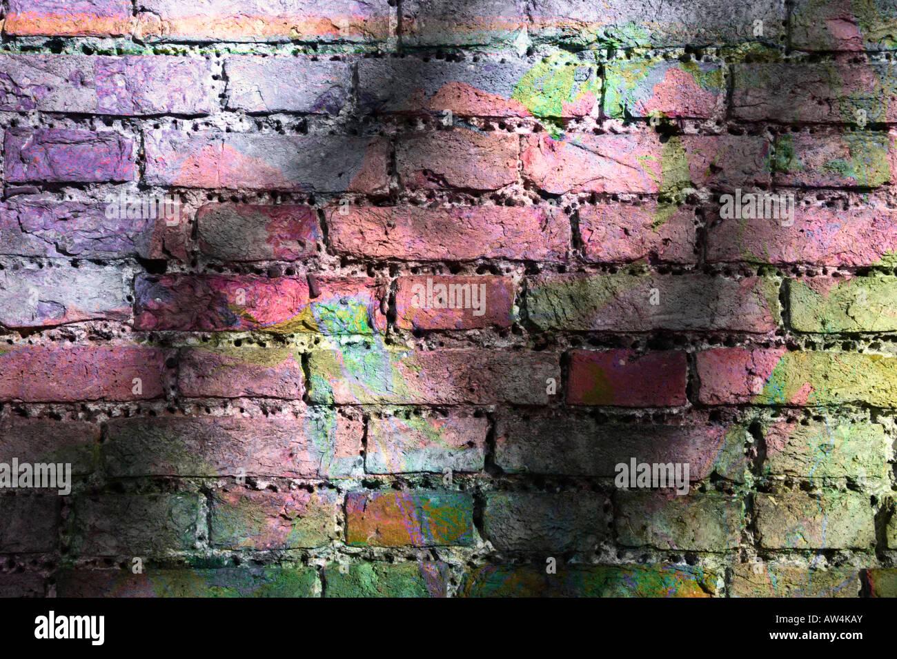 Coloured Brick Wall - Stock Image