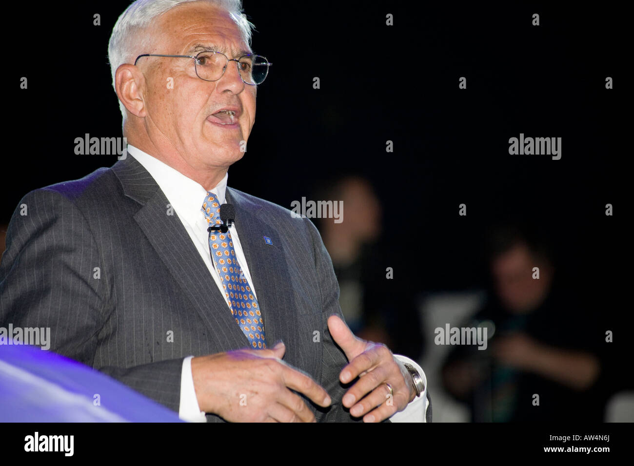 Bob Lutz (Vice Chairman of GM) speaks at the launch of the Saab 9-X BioHybrid concept. - Stock Image