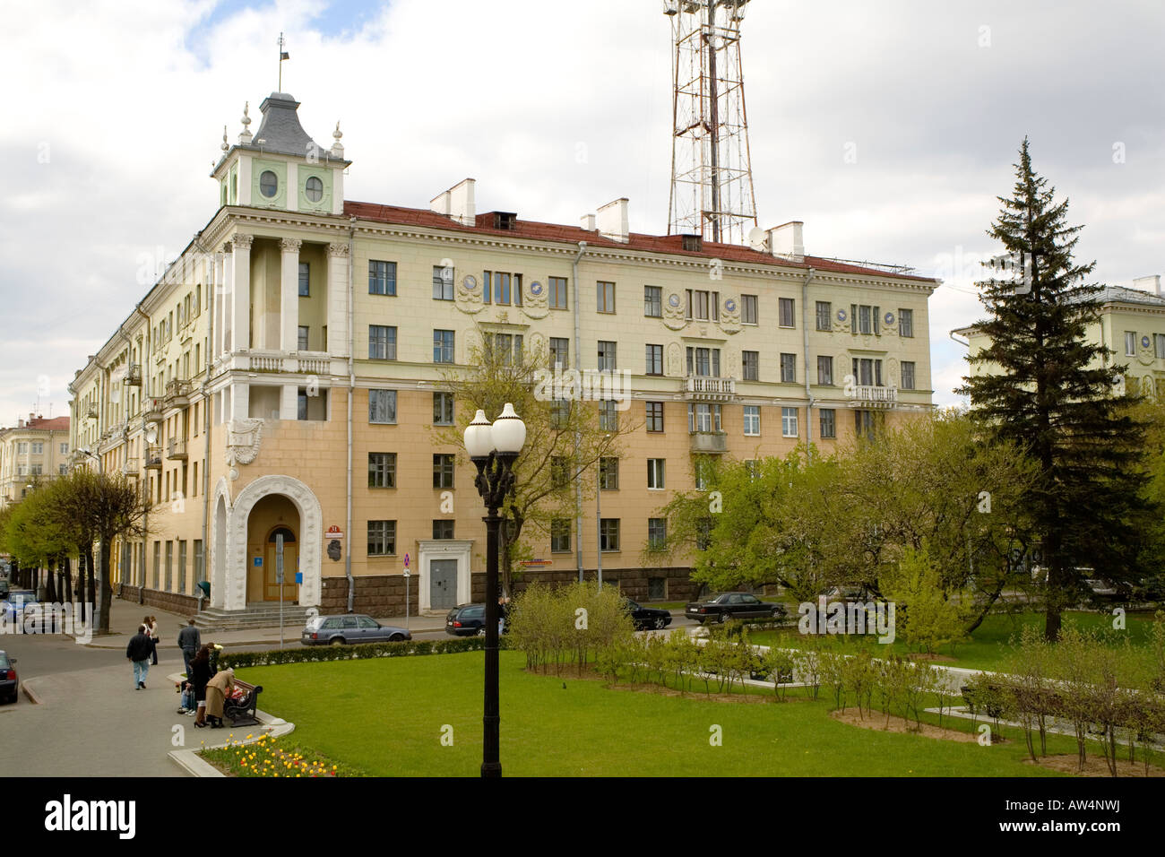 The apartment block by Victory Square in Minsk Belarus where