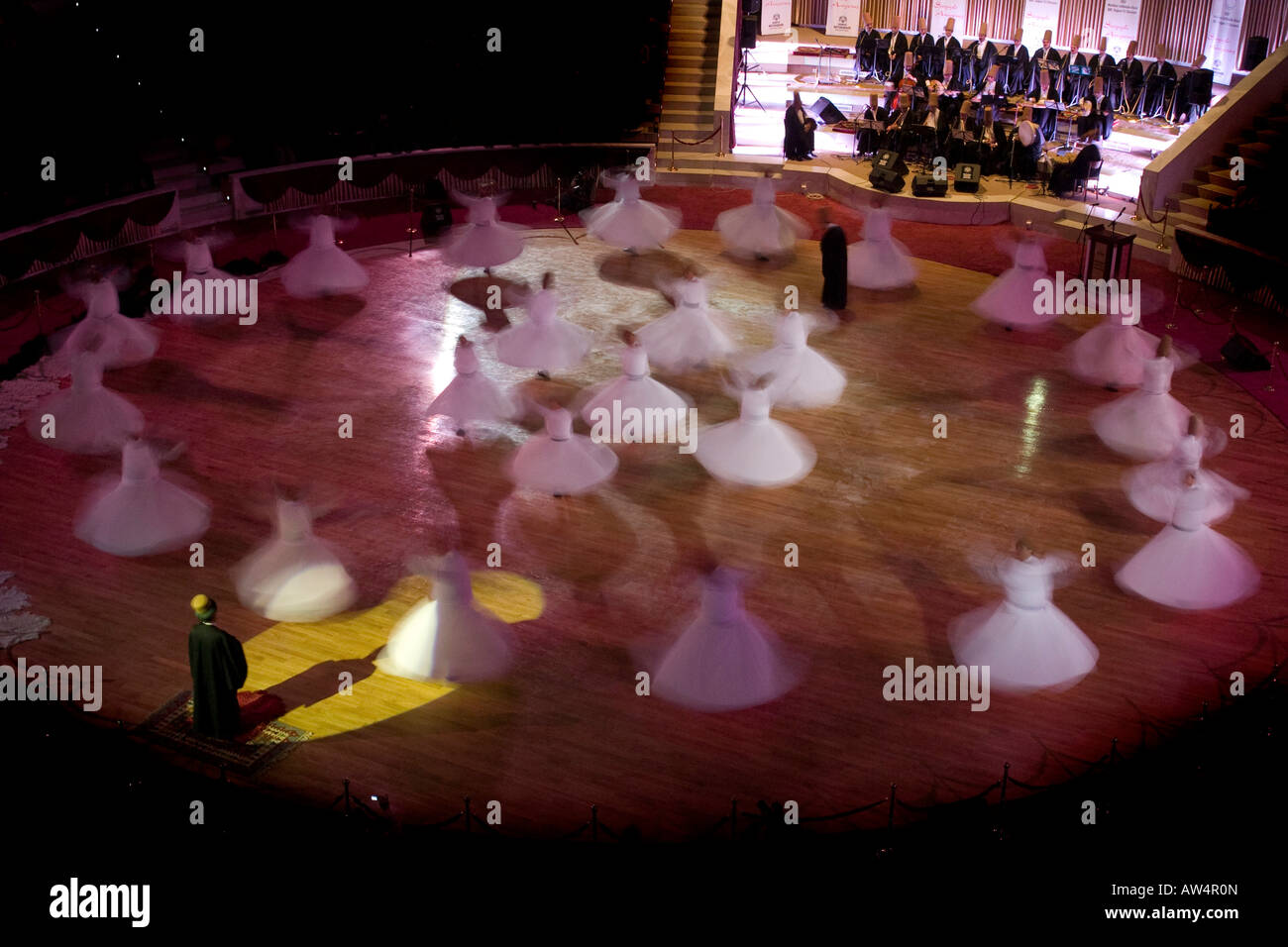 the whirling dervishes in Konya, Turkey during the Mevlana Festival which takes place early every December. - Stock Image