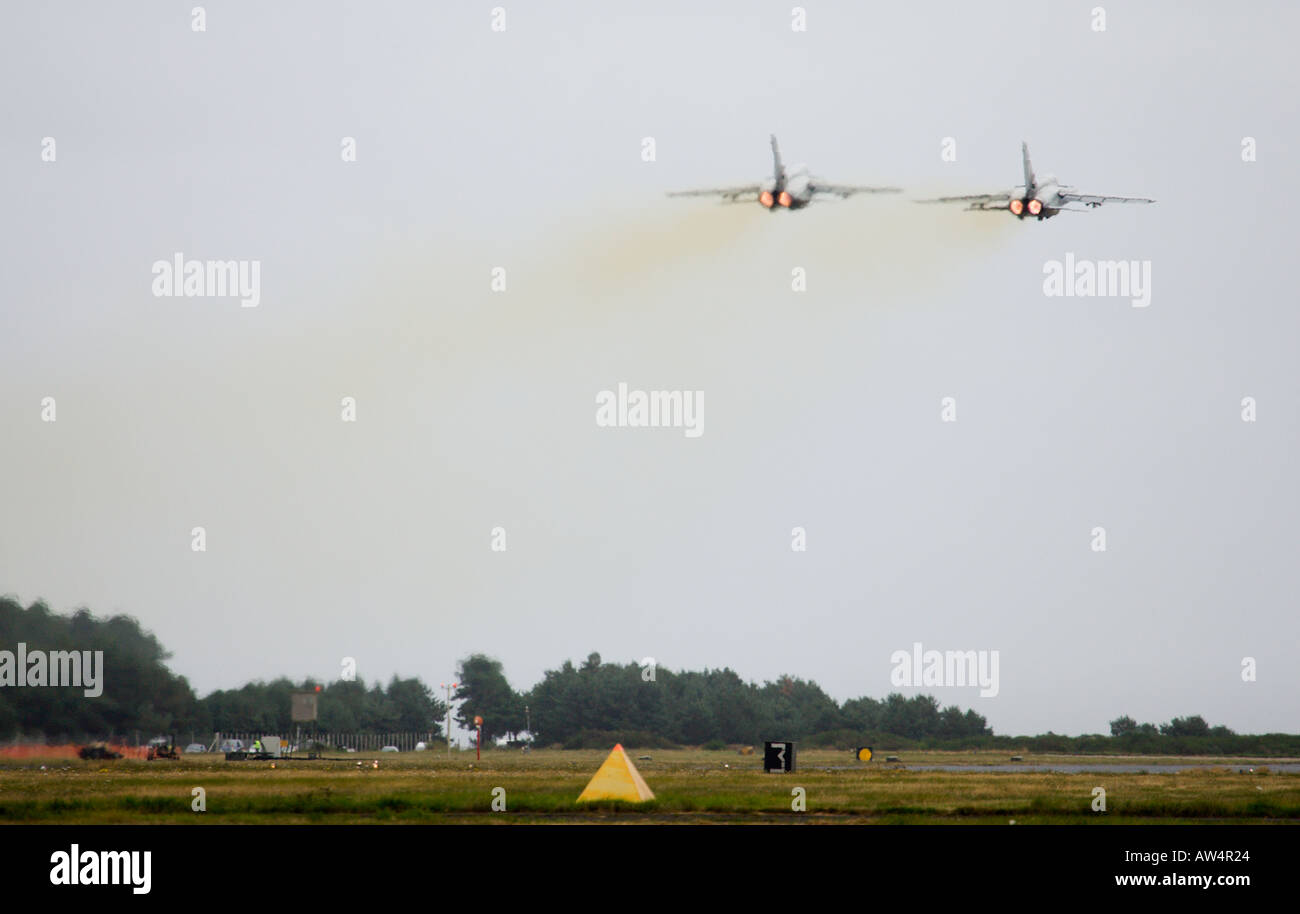 Two Tornado GR4 fighter jets taking off Stock Photo