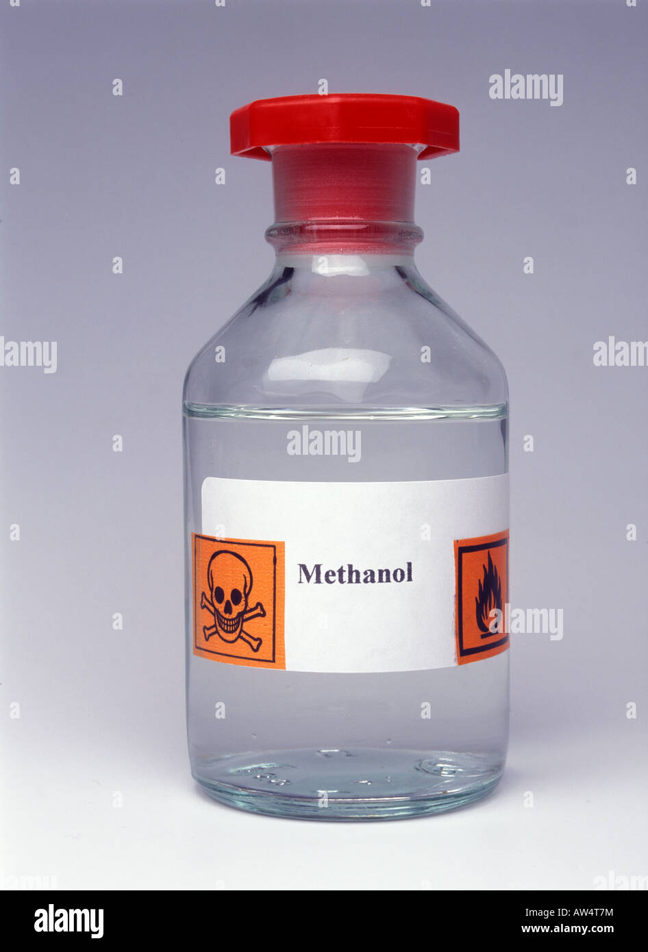 bottle of methanol with hazard labels stock photo 16465879 alamy