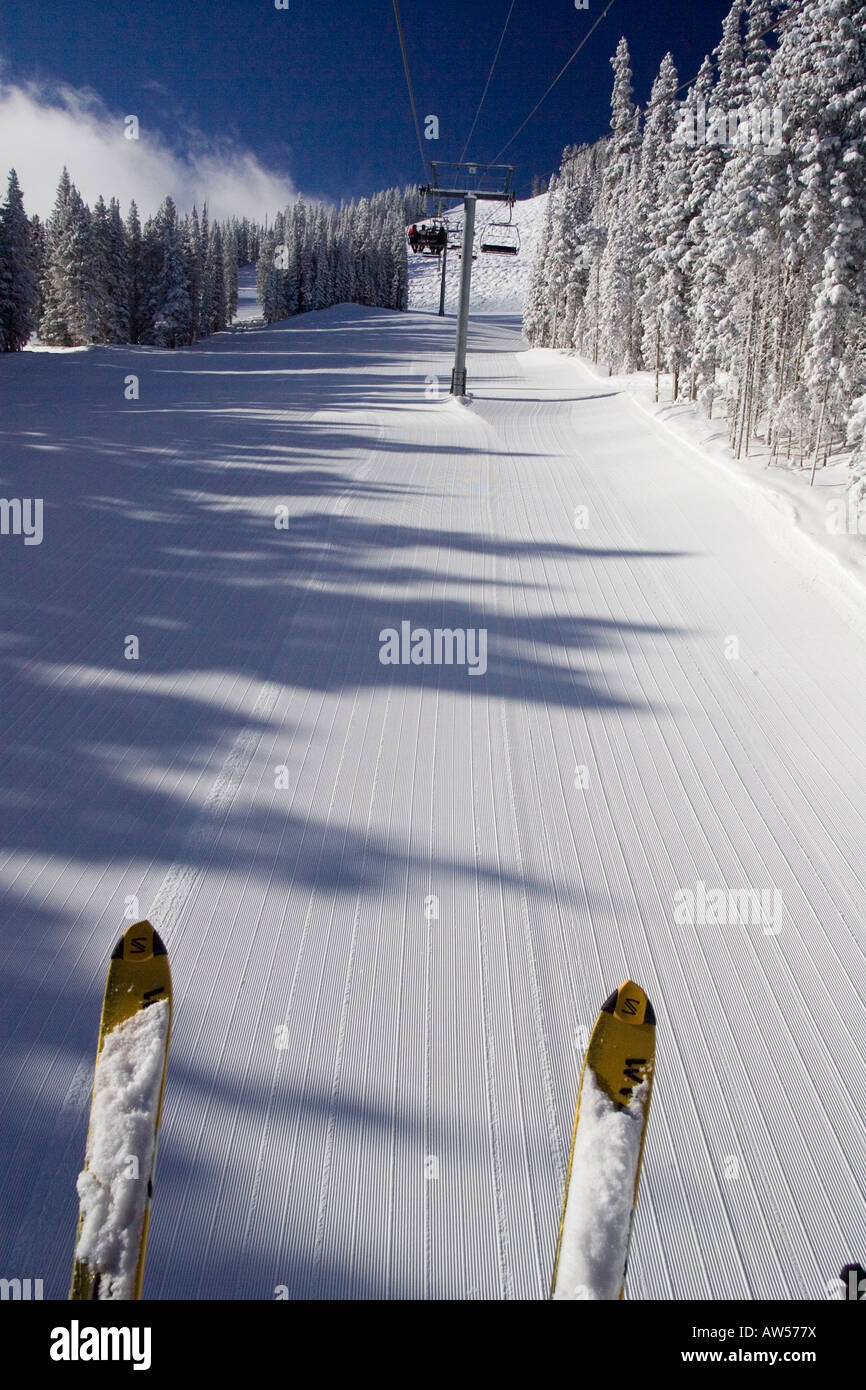 skier from chairlift - Stock Image