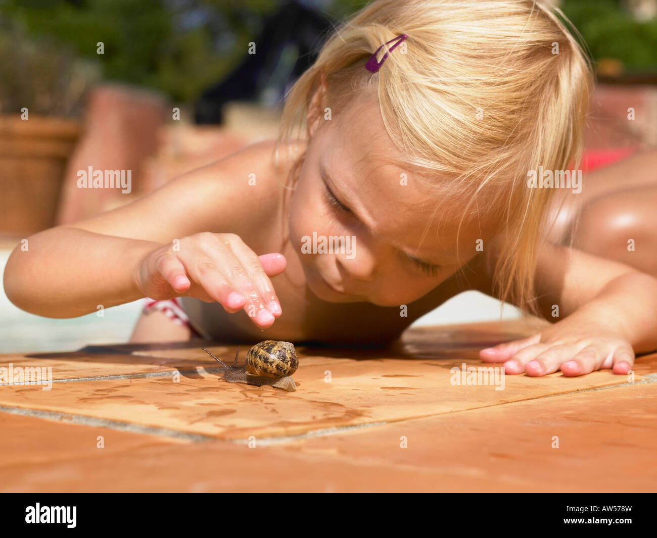 Little girl playing with a snail. Stock Photo