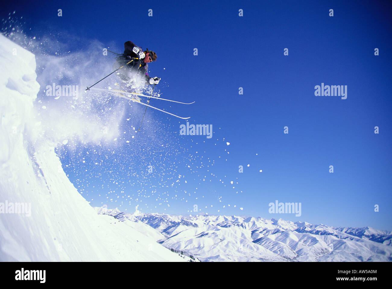 Seattle Ridge skier Sun Valley Idaho - Stock Image