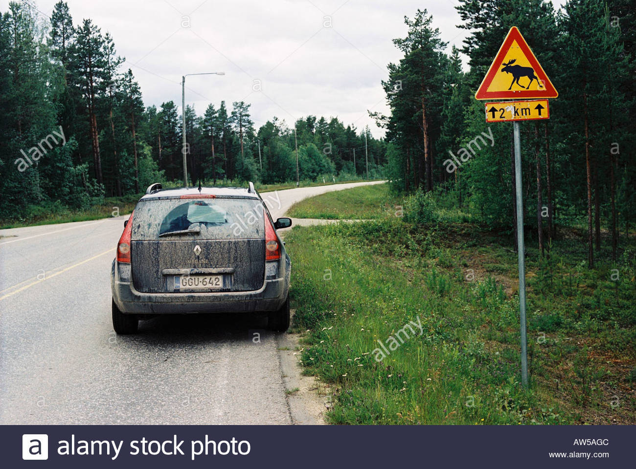 Road in Lapland Finland - Stock Image