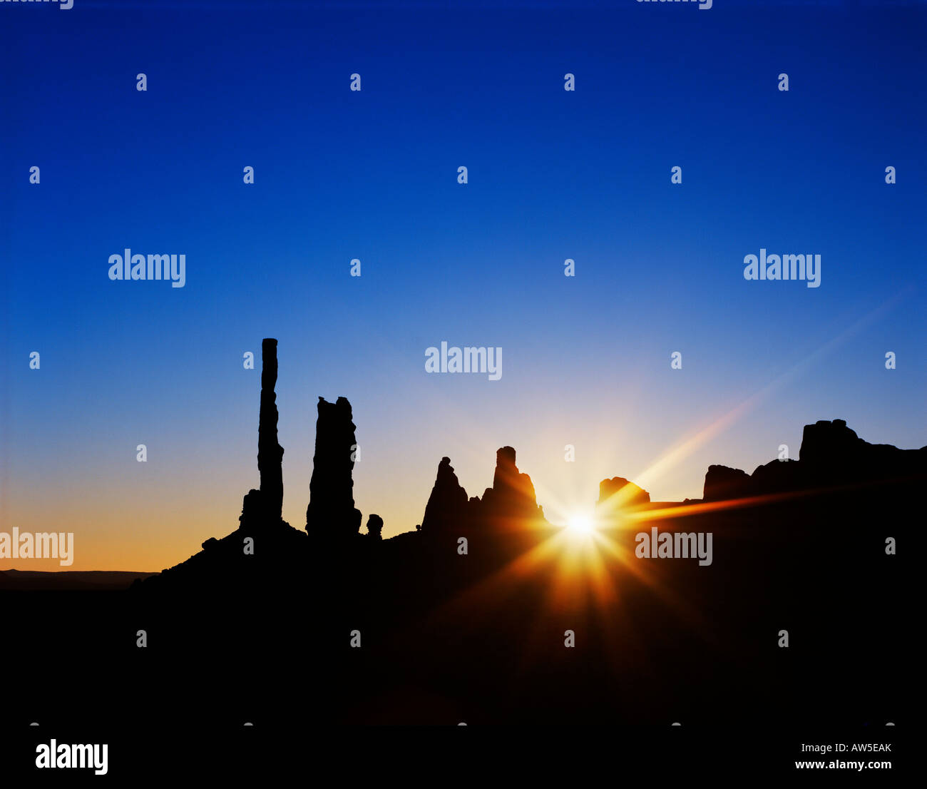 Yei Bi Chei Rocks Totem Pole Sand Dunes Monument Valley Navajo Tribal Park Arizona - Stock Image