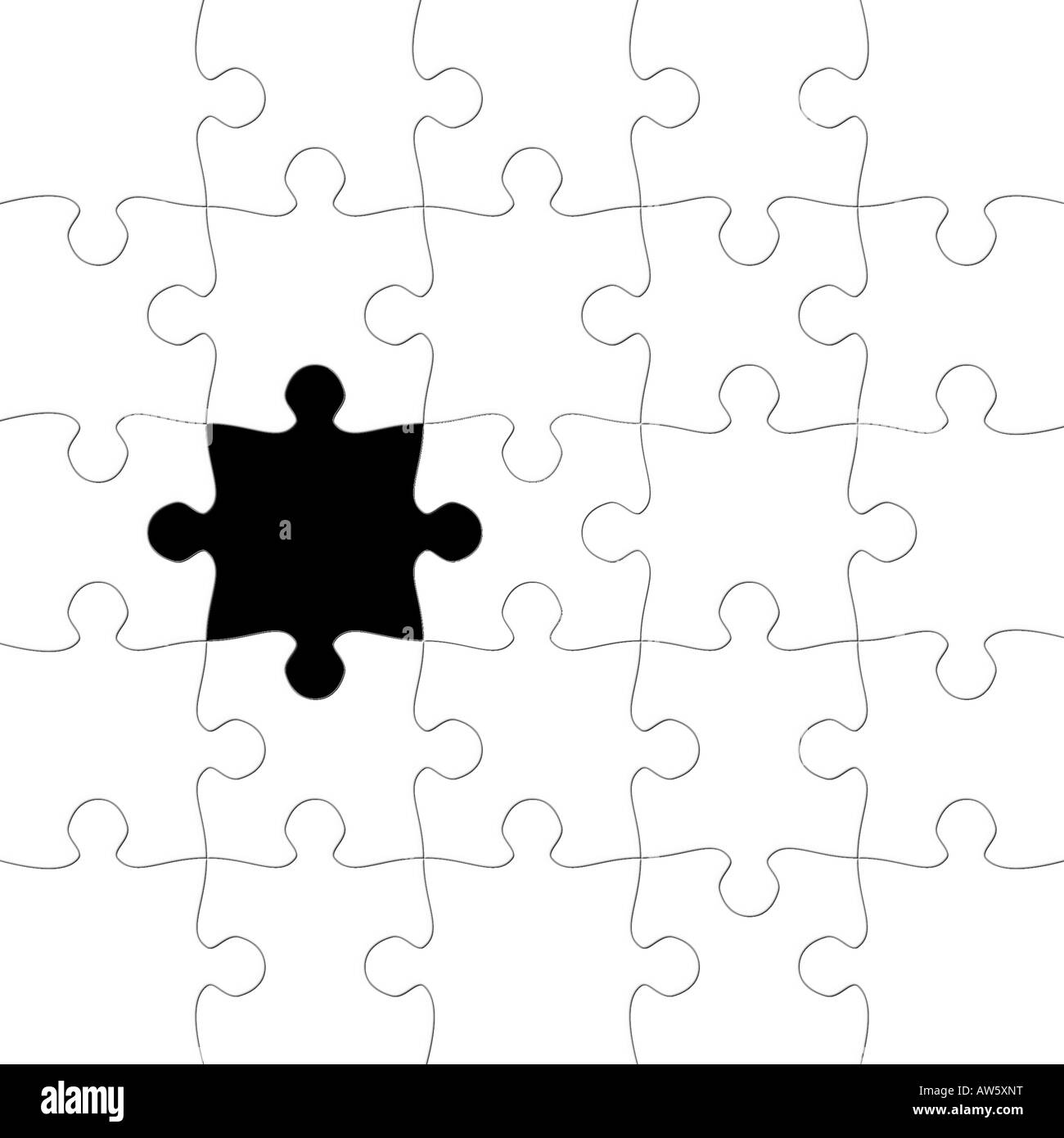 Puzzle with missing piece in black - Stock Image