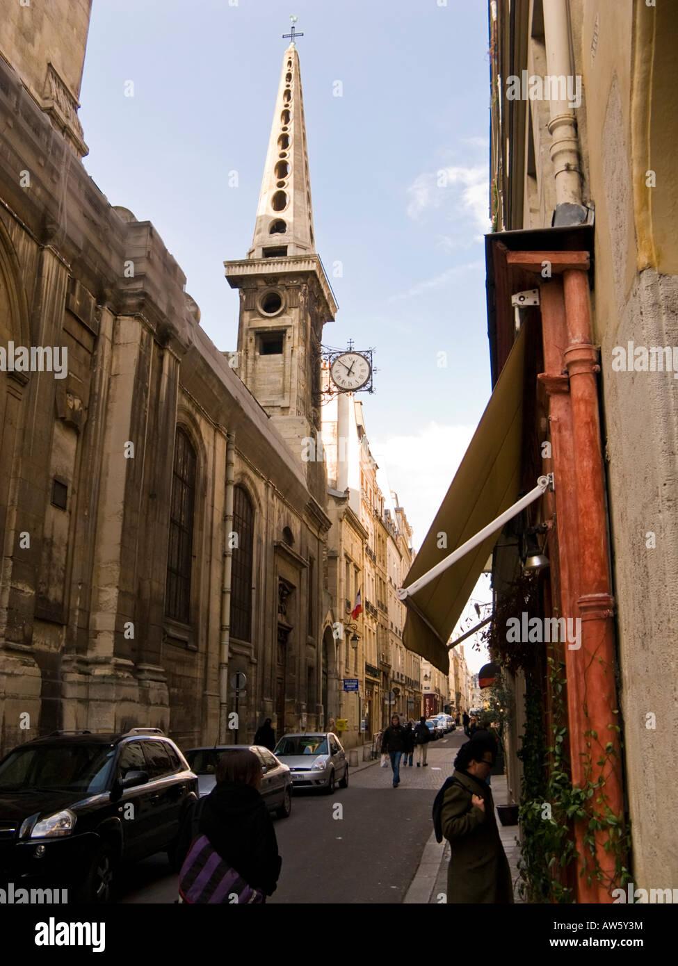 'Eglise St Louis' church on the 'Rue Saint Louis en L'Ille', 'Ile Saint Louis' Paris - Stock Image