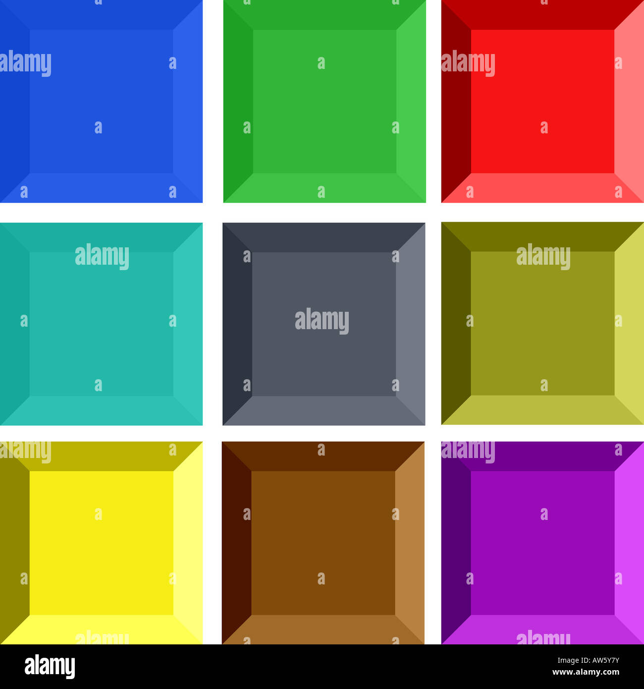 Collection of rectangular 3d buttons - Stock Image