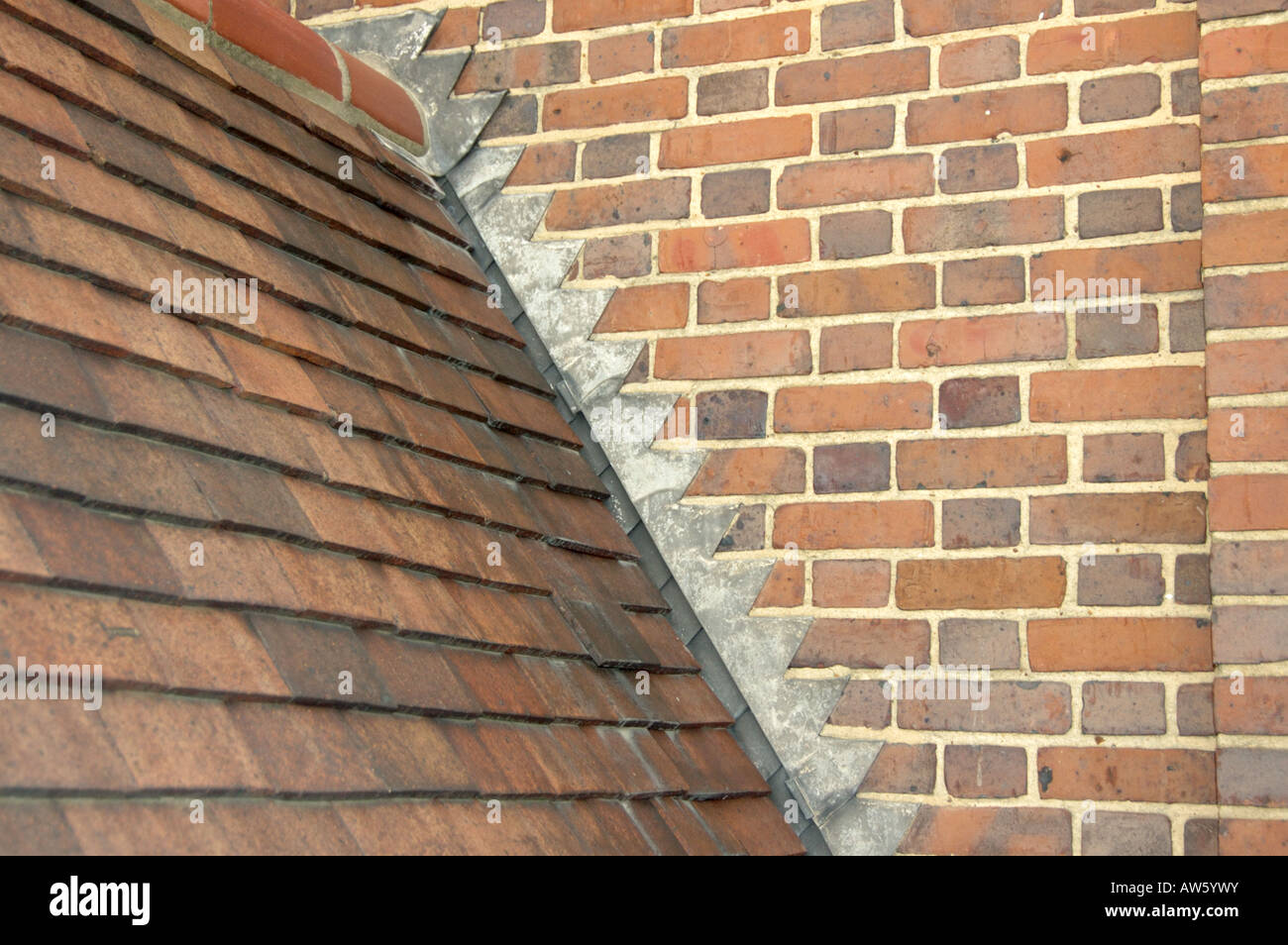 Neat Stepped Lead Flashing And Clay Roof Tiling Abutting A