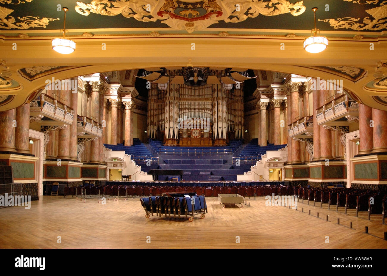The Victoria Hall, Leeds Town Hall in preparation for an event - Stock Image