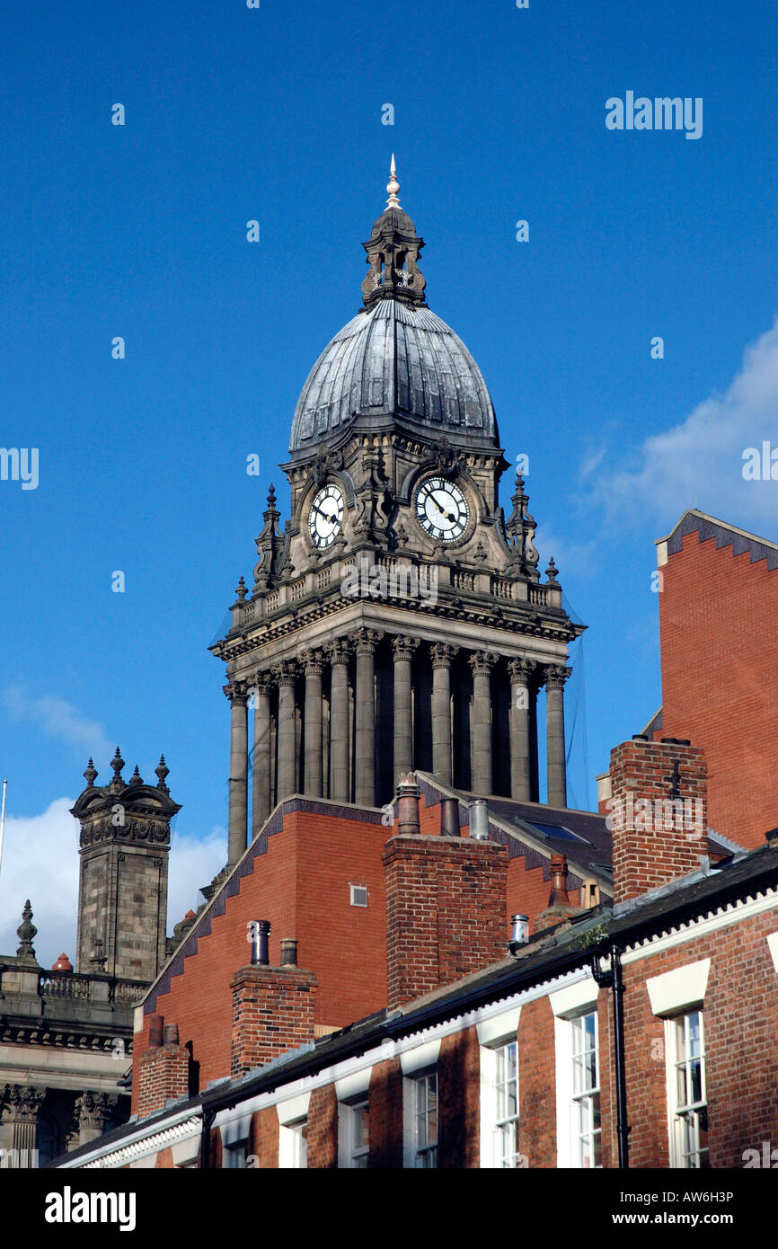 Leeds Town Hall from Park Square Leeds - Stock Image