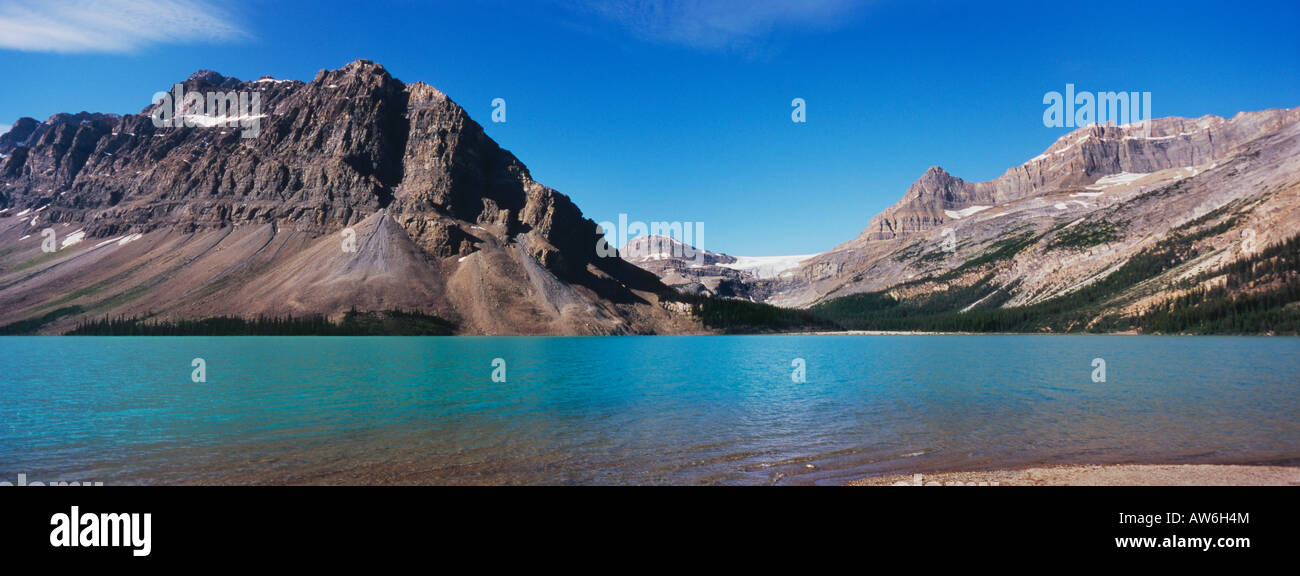 Bow Lake in Banff National Park in the Canadian Rockies - Stock Image