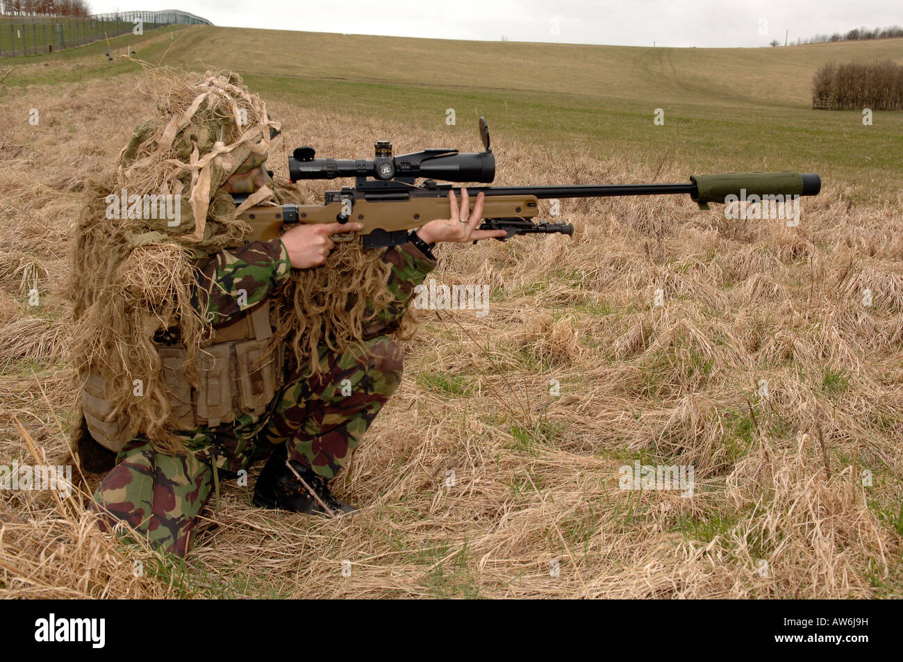 British Infantryman With A Long Range Sniper Rifle L115a3 Which Has A Stock Photo Alamy