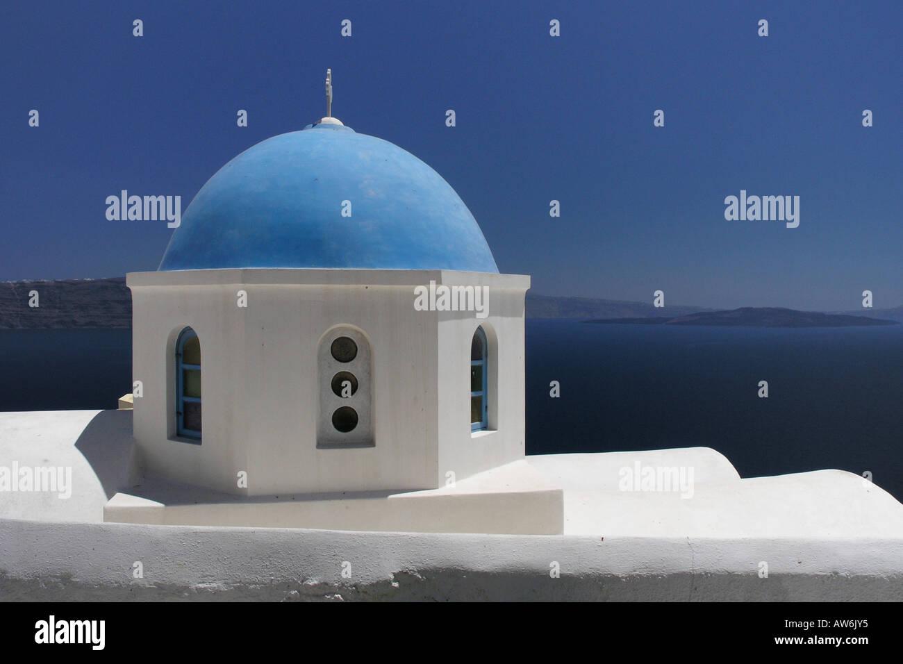 Church cupolas Oia Santorini - Stock Image