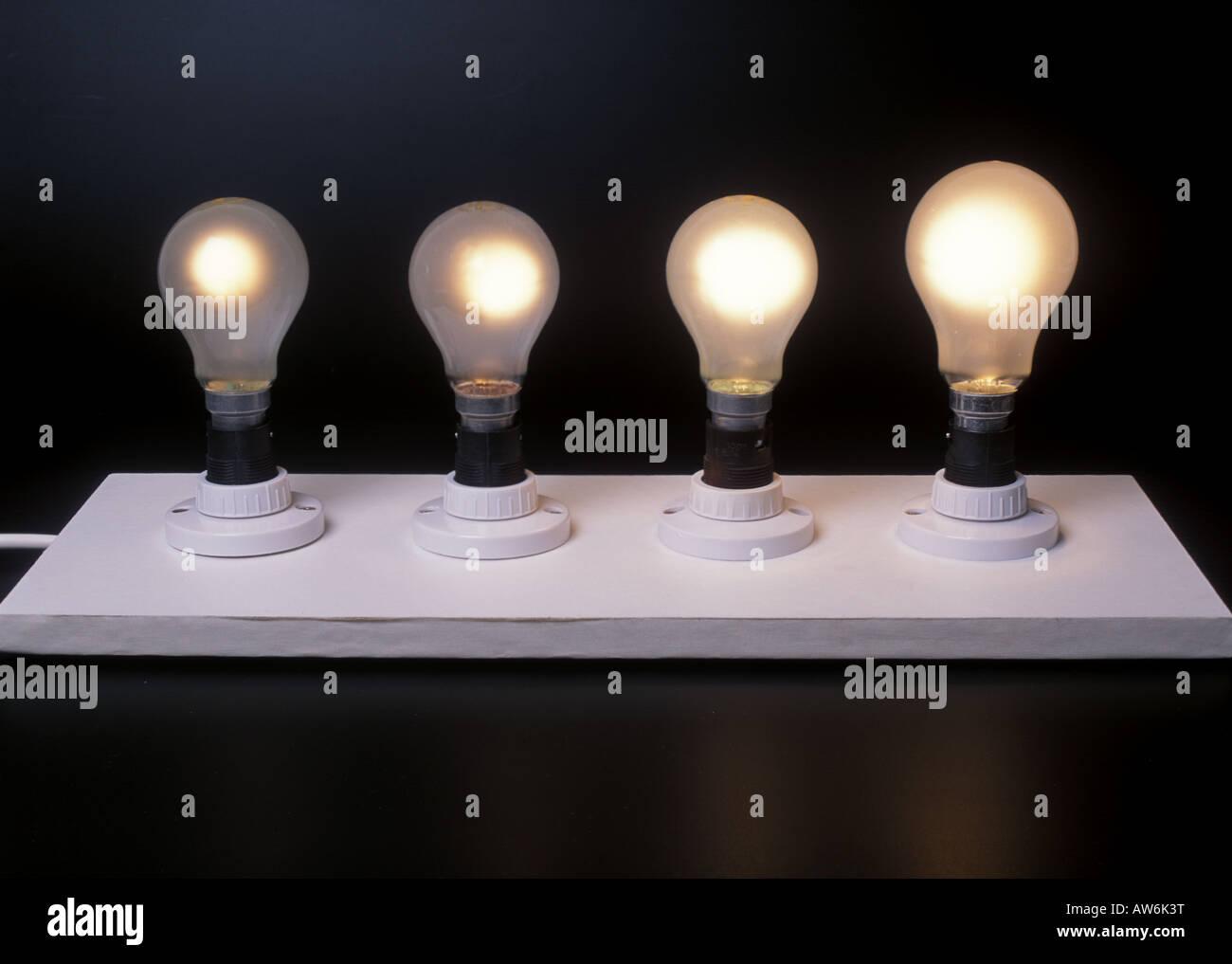 Attractive Four Different Wattage Light Bulbs 40w 60w 100w 150w   Stock Image