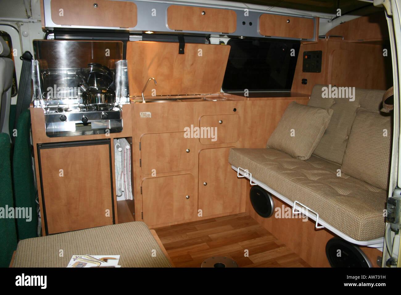 Volkswagen Camper Van Interior Stock Photo Alamy