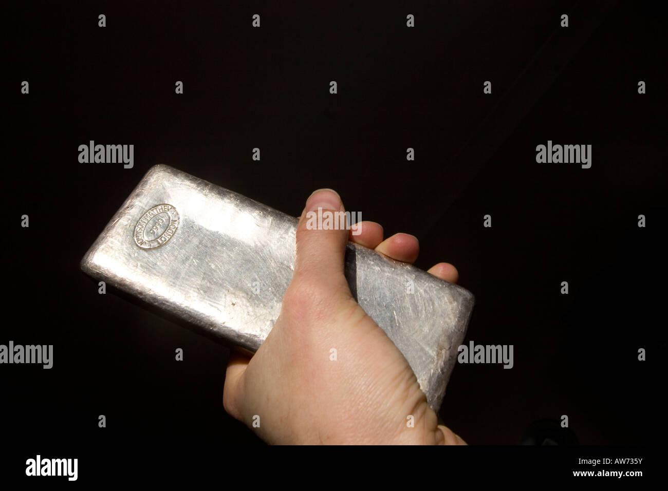 silver ingot Johnson Matthey - Stock Image