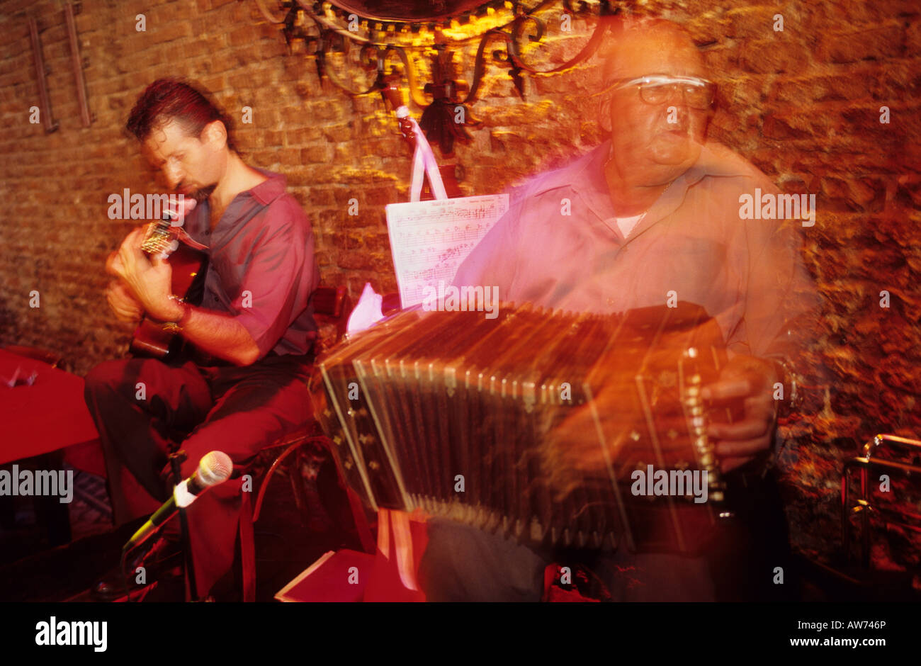 Tango musicians show playing at Mitos Argentinos in San Telmo Buenos Aires Argentina South America - Stock Image