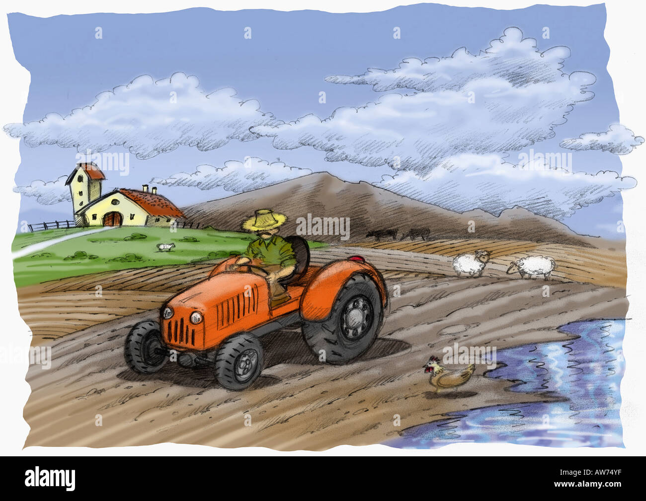 Farmer on a tractor in a partially flooded field - Stock Image