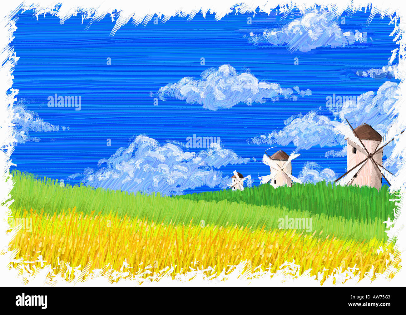 Windmills in the countryside - Stock Image