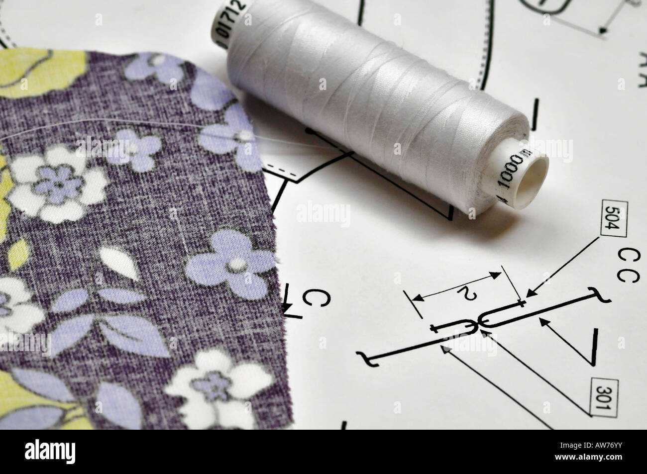 Cloth  and bobbin on a pattern - Stock Image