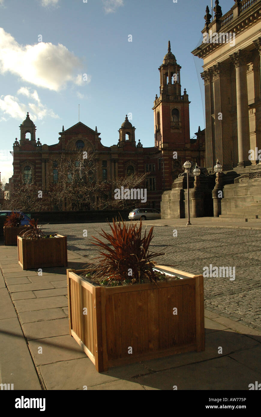Oxford Place Methodist Centre from the steps of Leeds Town Hall - Stock Image