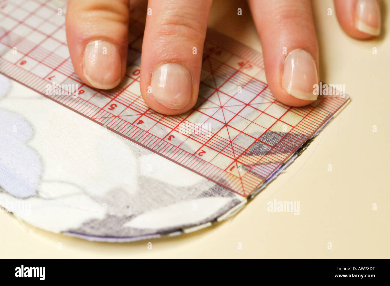 measuring a cloth - Stock Image