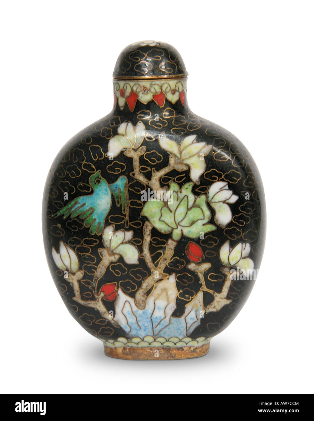 Chinese Antique Cloisonne hand-painted moon goddess snuff bottle