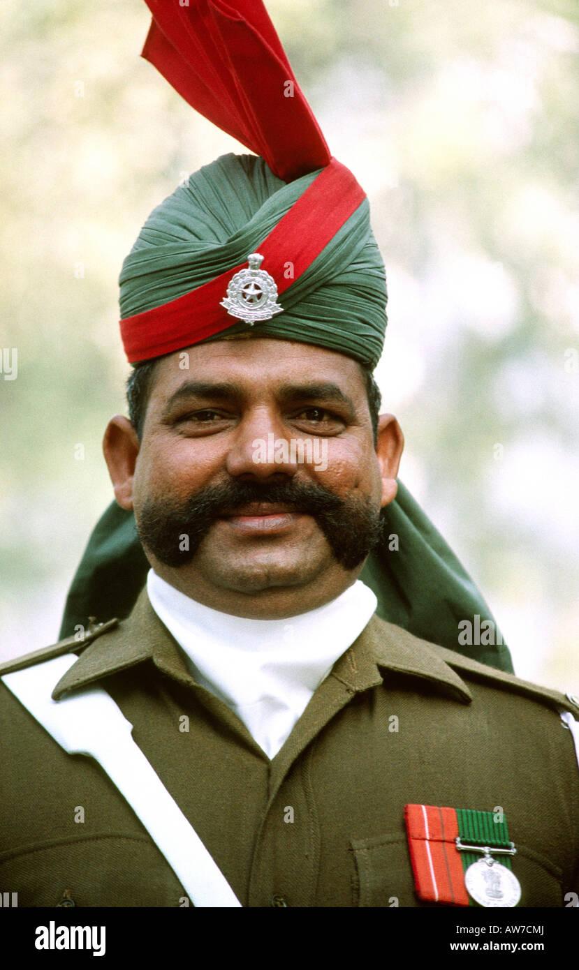 India New Delhi Republic Day Parade military policeman in dress uniform - Stock Image