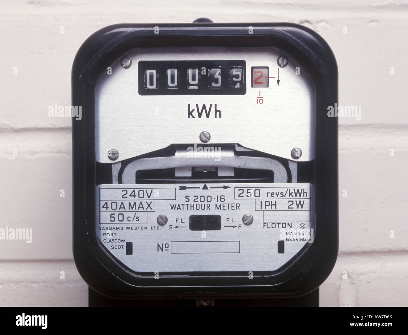 A kilowatt hour meter - Stock Image