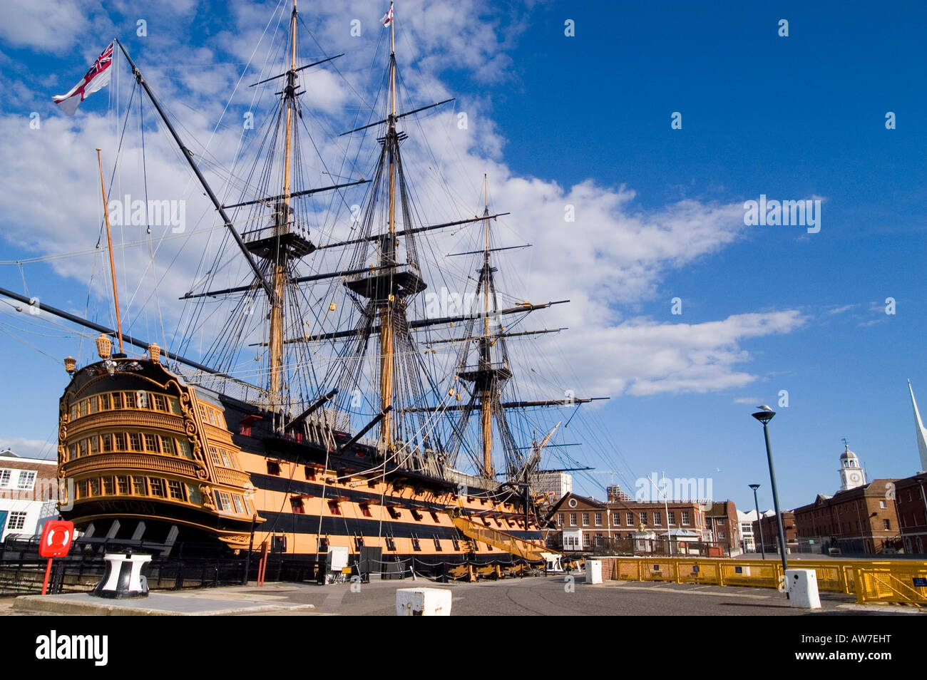 HMS Victory and her surroundings in the Historic Dockyard Portsmouth. One of the most important and famous ships - Stock Image