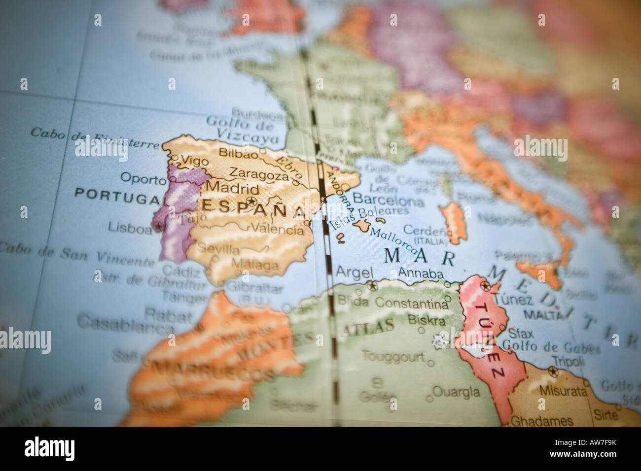 Map globe europe cartography depth stock photos map globe europe world map globe with focus on spain with shallow depth of field stock image publicscrutiny Image collections