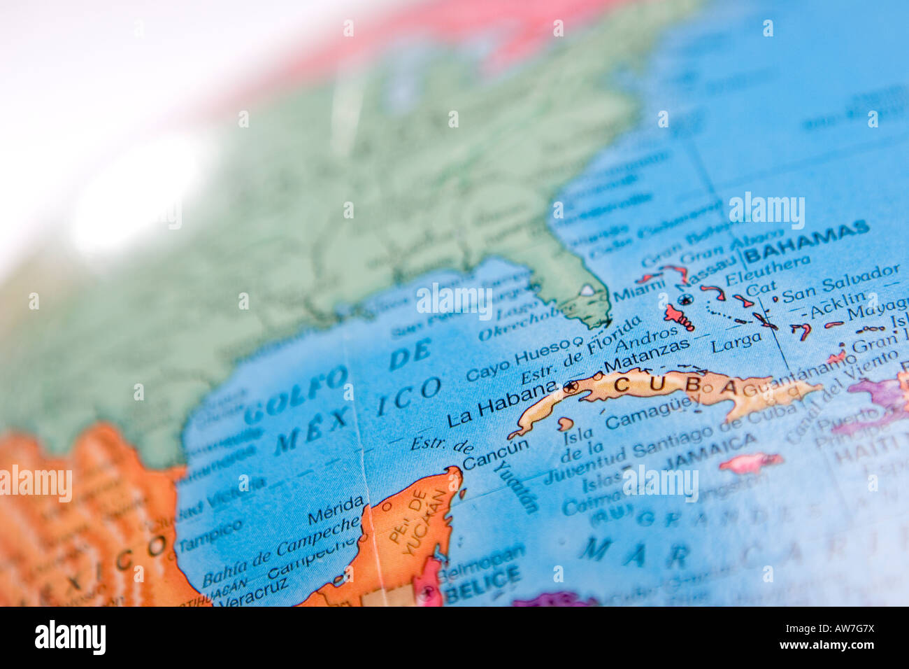 World map globe with focus on cuba and gulf of mexico with shallow world map globe with focus on cuba and gulf of mexico with shallow depth of field gumiabroncs Images