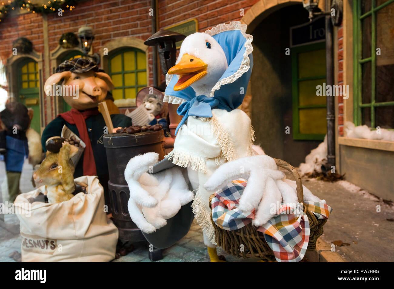 UK Tyneside Newcastle upon Tyne Northumberland Street Fenwicks Store Beatrix Potter Christmas window - Stock Image
