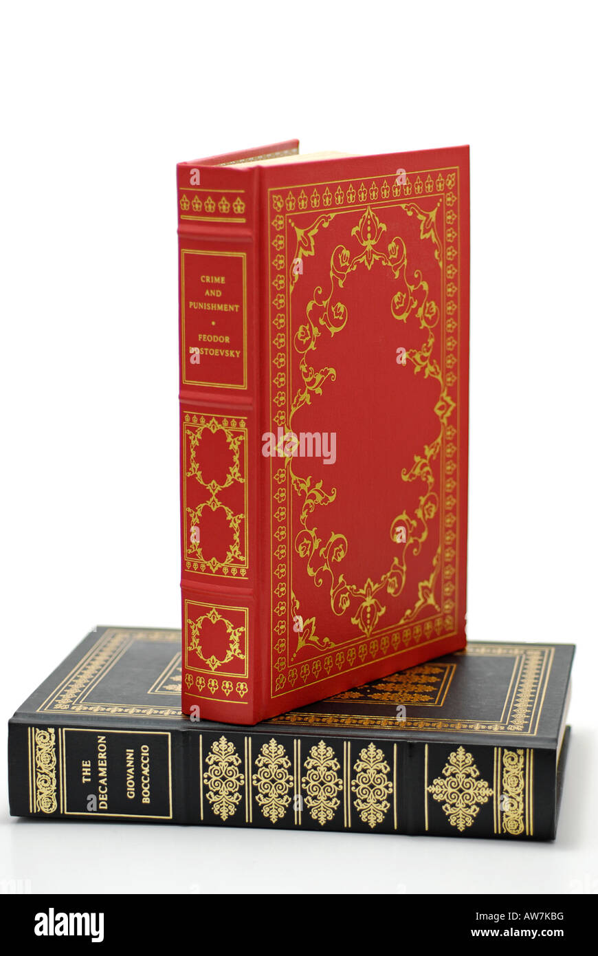 Leather Bound Books - Stock Image