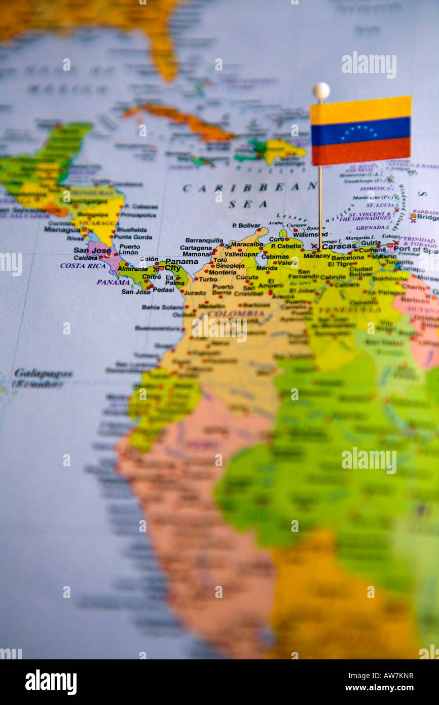 Flag Pin Placed on World Map in the Capital of Venezuela Caracus ...