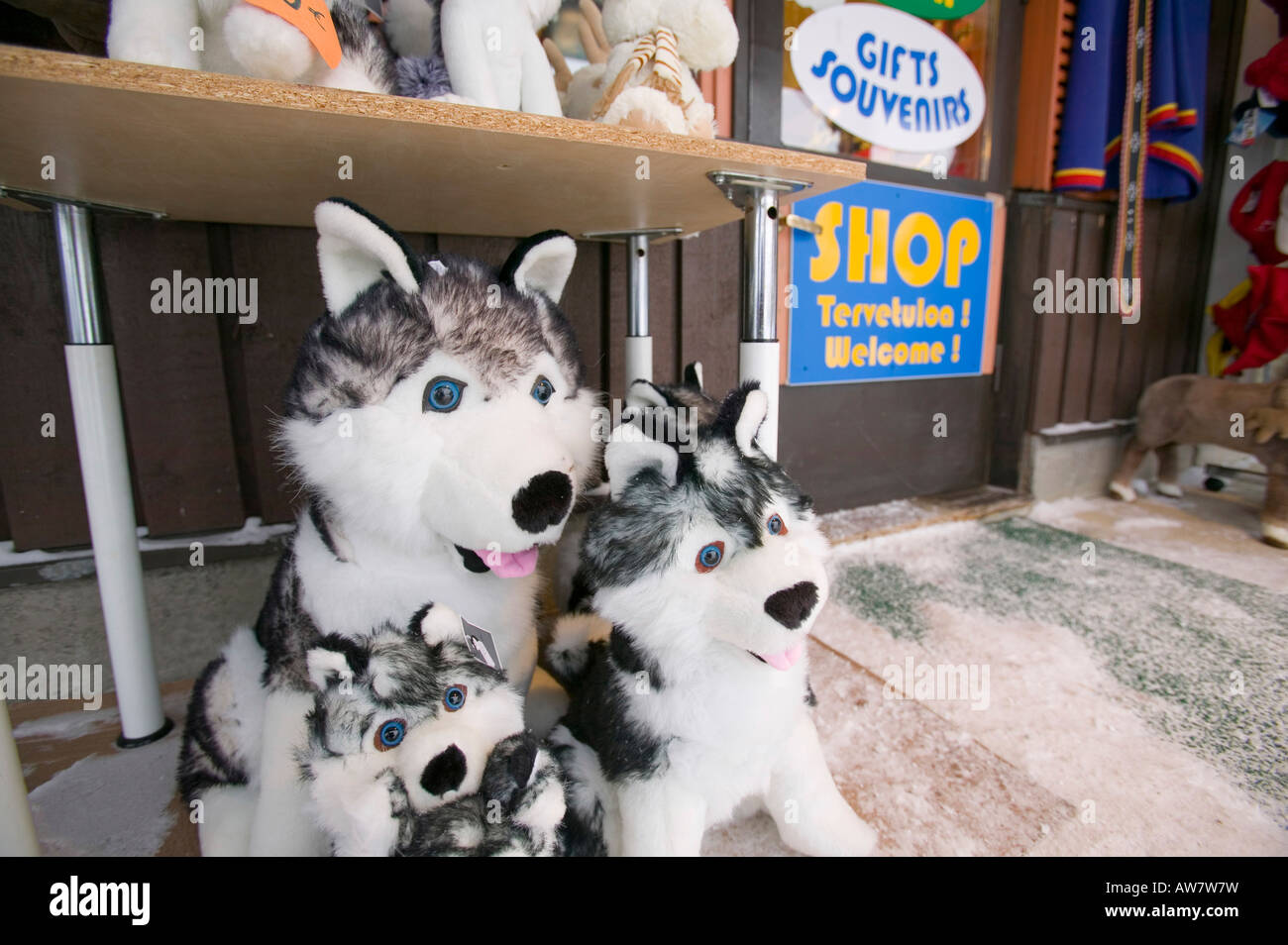 An Shop Selling Cuddly Toy Husky Dogs In Saariselka Northern Finland Stock Photo Alamy