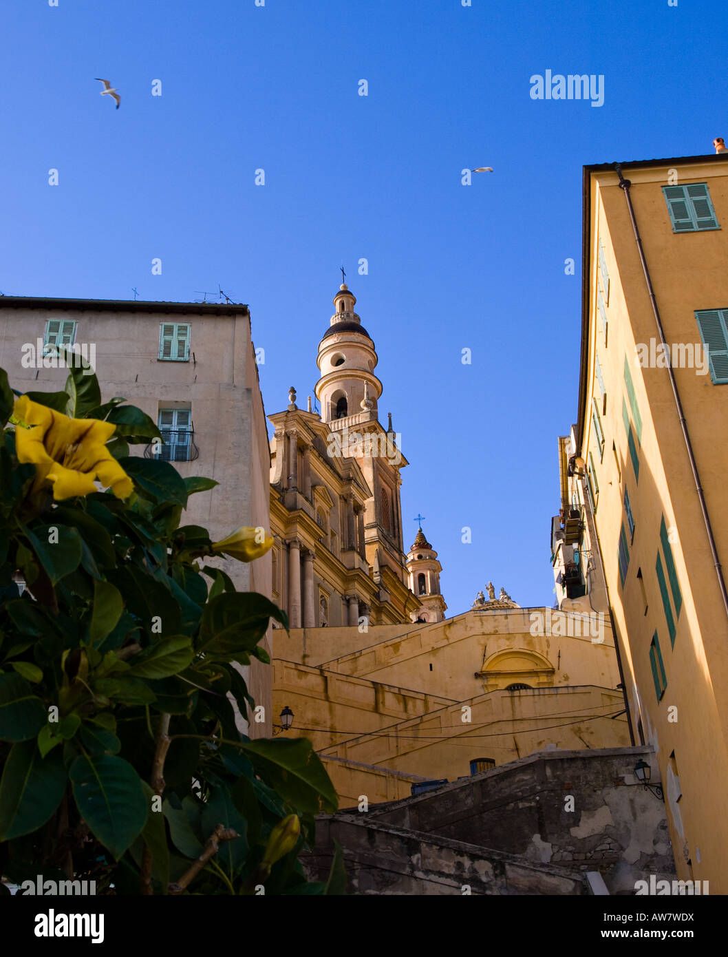 A view of the grand Église St-Michel (Church of St. Michael) in Menton, France. Stock Photo