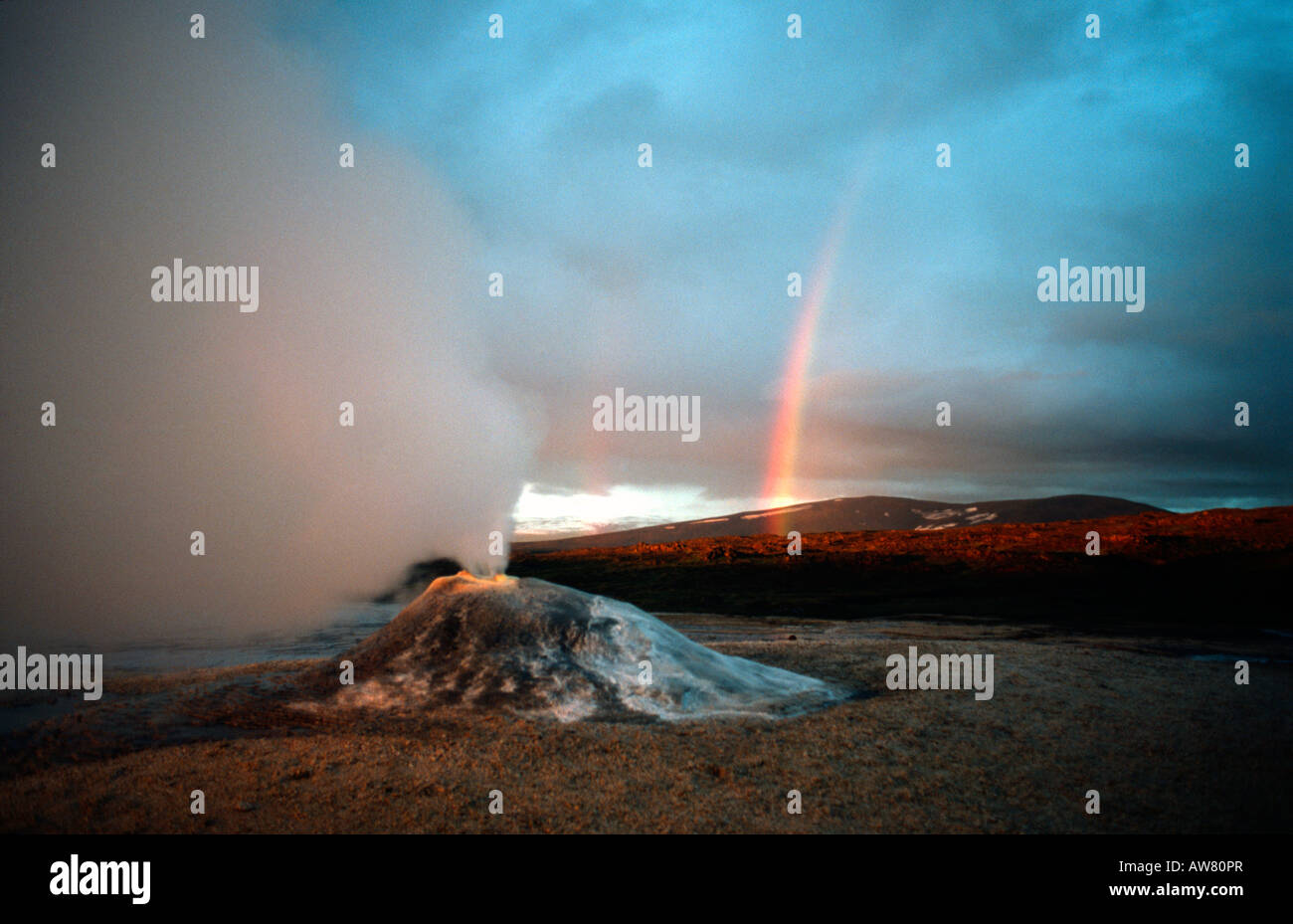 PICTURE CREDIT DOUG BLANE Rainbow and steaming geothermal vent near the Langjokull glacier Iceland Stock Photo