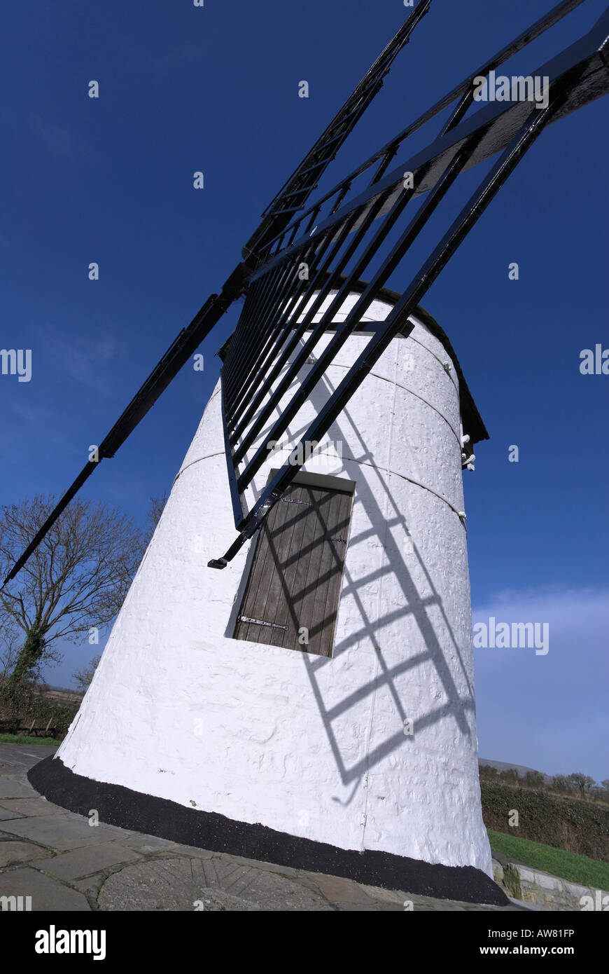 white and black Windmill - Stock Image