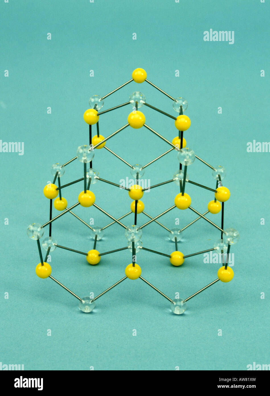 A molecular model of wurtzite ZnS - Stock Image