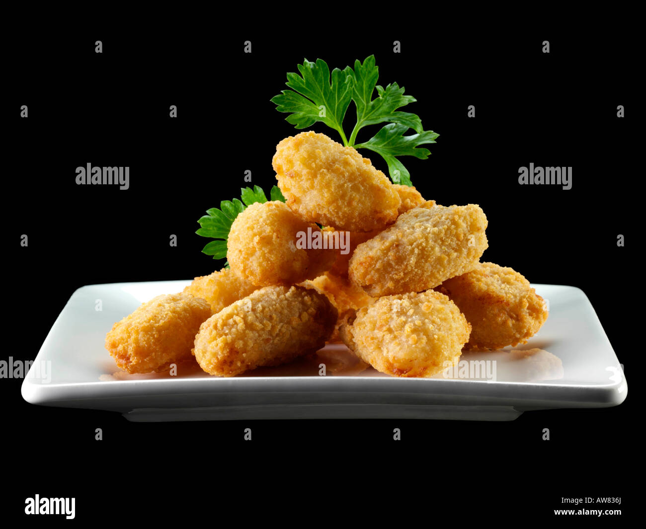 Scampi prawn nuggets kids meals editorial food Stock Photo