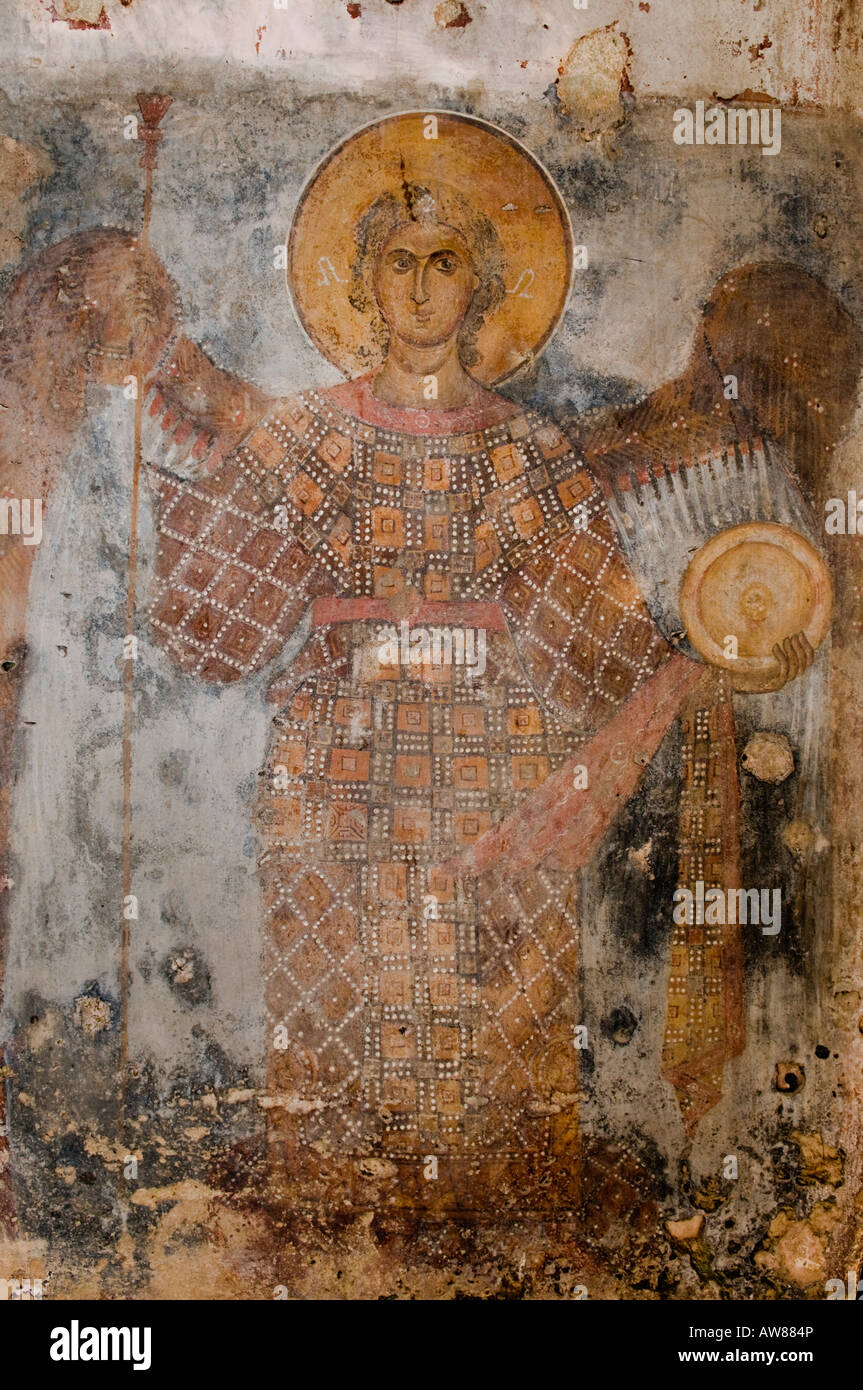 A fresco of the Taxiarch Archangel Michael in the church of Odigitria, Deep Mani near Stavri Southern Peloponnese, - Stock Image