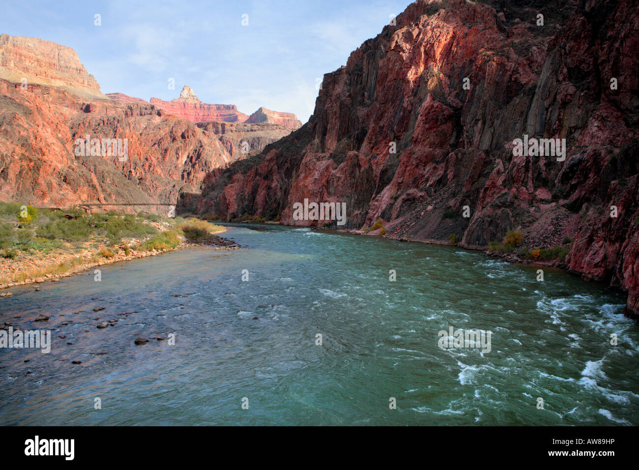 COLORADO RIVER VIEWED FROM THE SILVER BRIDGE NEAR RIVER TRAIL AND BRIGHT ANGEL TRAIL WITH BLACK BRIDGE SEEN IN A Stock Photo
